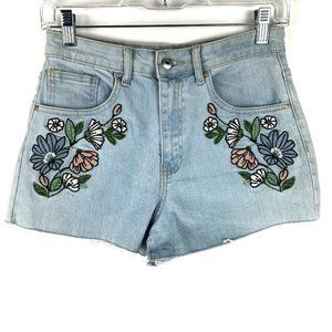 21 Floral Embroidery High Rise Denim Cut Off Short